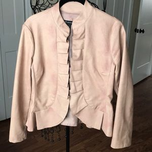 Pink Ruffle Faux Leather Jacket